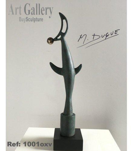 Sculpture Oiseau et Lune en Vert oxyde de bronze | Martín Duque